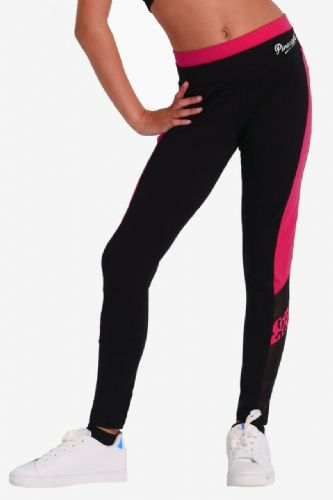 PINEAPPLE DANCEWEAR Girls Mesh Panel Dance Leggings Black Contrast Berry Red